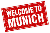 Munich red square grunge welcome to stamp