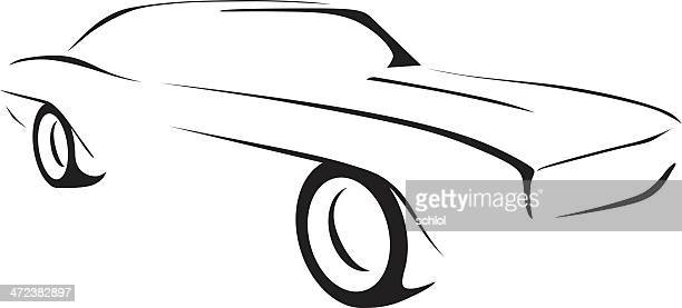 ilustraciones de stock y dibujos de chevrolet getty images car outline vector free classic car outline vector