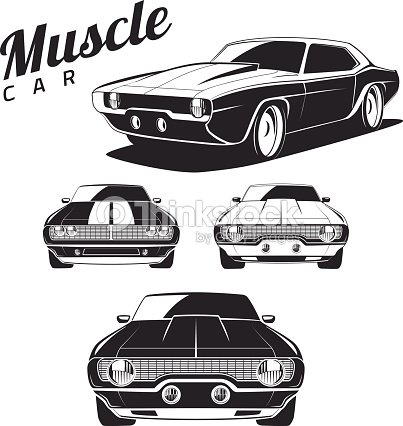 Muscle Car Tamplates For Icons And Emblems Isolated Vector Art