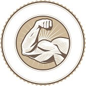 Emblem seal with muscular arm flexing