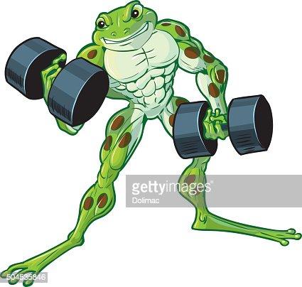 Muscular Cartoon Frog Curling Dumbbells Vector Art Thinkstock