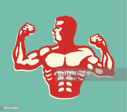 Muscular Man Flexing Biceps : Vector Art