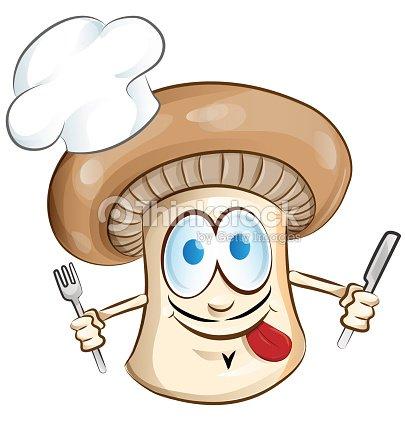 Champignon chef cuisinier de dessin anim clipart for Cuisinier vegetarien