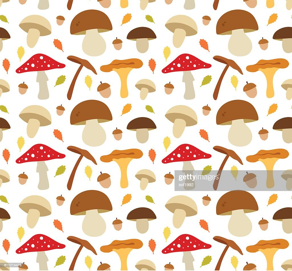 Mushroom flat illustration seamless vector pattern. Isolated on white background