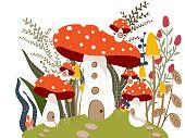 Mushroom House in Garden Illustration Vector.