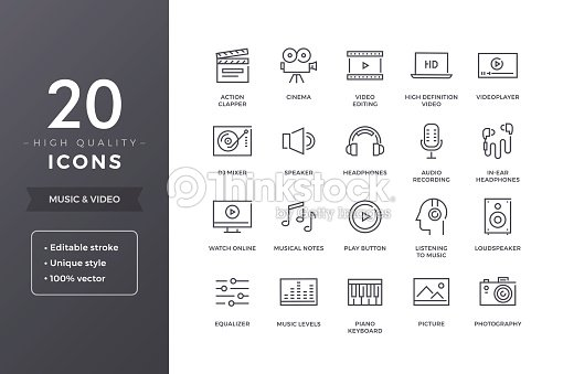 Music and Video Line Icons : stock vector
