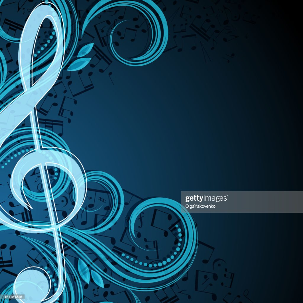 Music background template with clef and swirls