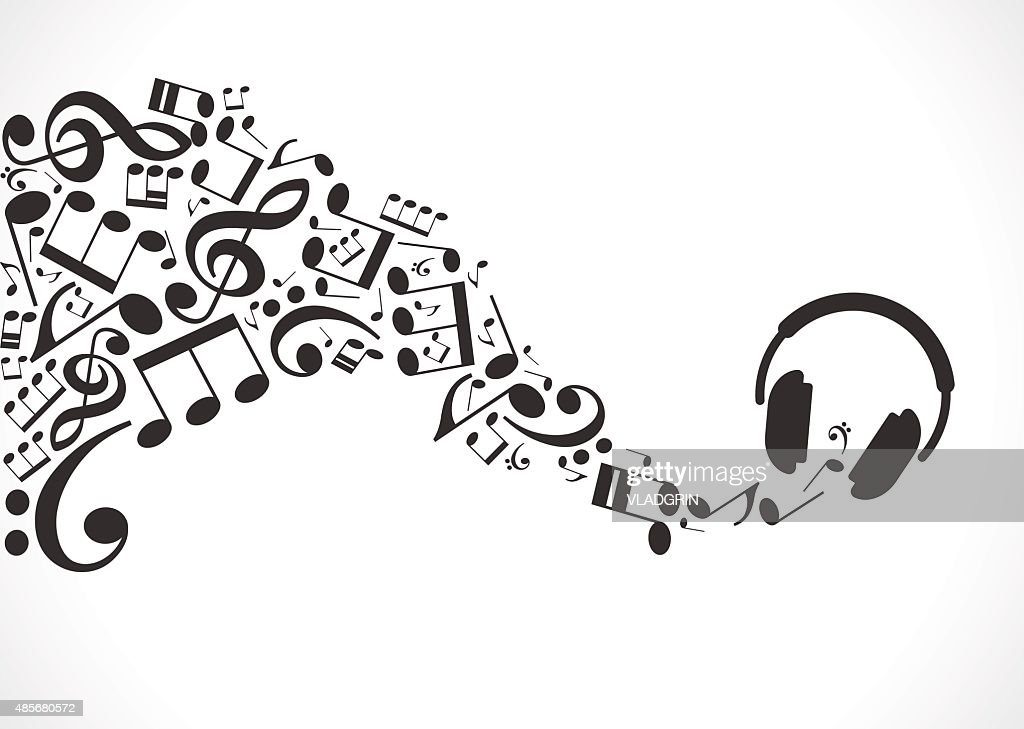 Music background with headphones and musical notes