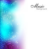 Music background with notes and blue color decorative element