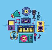 music colorful background synthesizer headphones vinyl cassette microphone speaker mp3 vector illustration