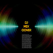DJ mix cover with music waveform as a vinyl grooves. All font licenses are checked.