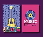 guitar drum cassette vinyl music festival banner vector illustration