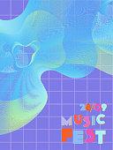 Music cover in blue, violet, pink, green colors. Rock concert flyer. Minimal tech brochure. Waveform layout. Vibration audio cover. Promotion party ads. Vintage wave template.