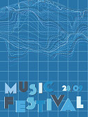 Music cover in navy blue, indigo, white colors. Rock concert flyer. Minimal line brochure. Amplitude layout. Vibration audio cover. Media party ads. Vintage wave template.