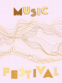 Music cover in gold, yellow, copper colors. Rock concert flyer. Minimal tech brochure. Soundwave layout. Geometric audio cover. Creative party advertise. Vintage wave template.