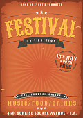 Illustration of a vintage old elegant music festival poster template, yellow and red colored with western style and grunge texture