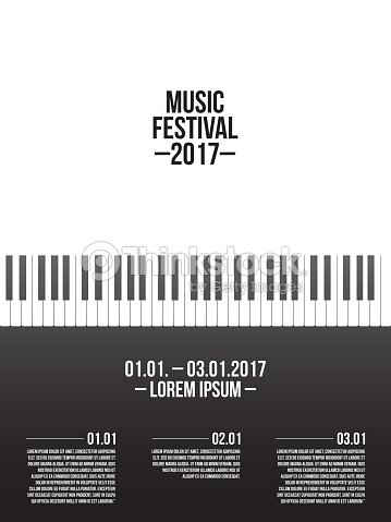 Music Festival Poster Template With Piano Keyboard Clipart Vectoriel