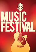 Vector illustration, Acoustic guitar on the red background concert flyer template.