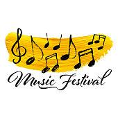 Music notes on a golden brush stroke background. Music Festival banner design element.