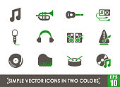 music simple vector icons in two colors