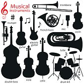 Music icon set.  Vector silhouette illustration