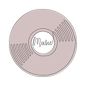 Vinyl LP record in one line art drawing style. Vector illustration