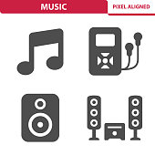 Professional, pixel aligned icons depicting various music devices concepts