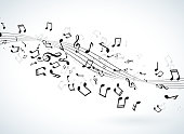 Music illustration with falling notes on white background. Vector design for banner, poster, greeting card