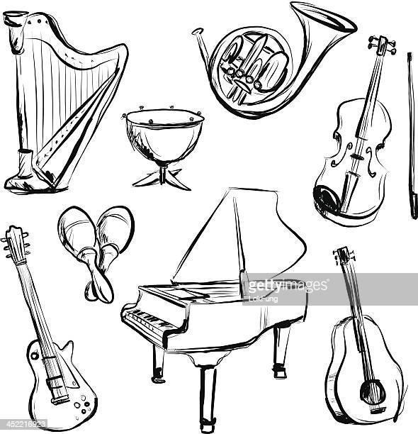 instrument de musique et charbon croquis style