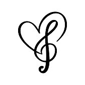 Music key and heart abstract hand drawn vector logo and icon. Musical theme flat design template. Isolated on the white background.