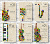 Music magazine layout flyer invitation design. Set of musical ornament illustration concept. Art instrument, poster, book, abstract, ottoman motifs, element. Decorative ethnic greeting.