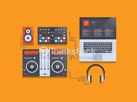 DJ Music Mixer Equipment Workplace Vector Art