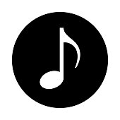 Music note circle icon. Black, round, minimalist icon isolated on white background. Eighth note simple silhouette. Web site page and mobile app design vector element.