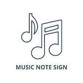 Music note sign vector line icon, outline concept, linear sign