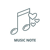 Music note vector line icon, outline concept, linear sign