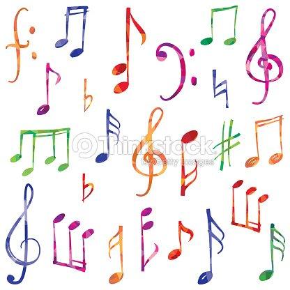 Music Notes And Signs Set Hand Drawn Musical Symbols Vector Art