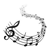 Music notes, black group musical notes – vector for stock