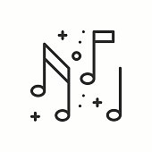 Music, notes icon. Disco, dance, nightlife club. Party celebration birthday holidays event carnival festive. Thin line party basic element icon. Vector simple linear design. Illustration. Symbols