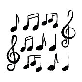 Vector set of cute hand drawn music notes icon.