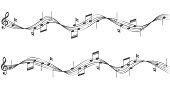 Music notes on staves on white background