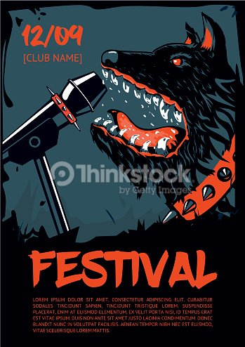 music poster template for rock concert dog with microphone ベクトル