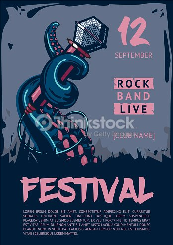 music poster template for rock concert octopus is holding microphone