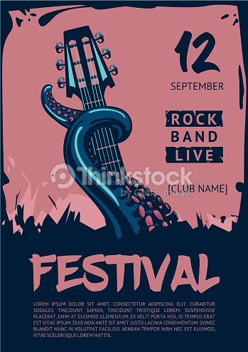 music poster template for rock concert octopus with guitar ベクトル