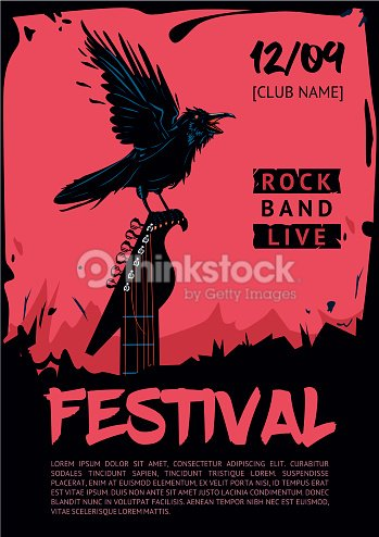 music poster template for rock concert raven with guitar ベクトル