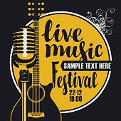 Vector poster for a live music festival with a microphone, acoustic guitar and inscription in retro style. Template for flyers, banners, invitations, brochures and covers.