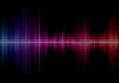Disco rainbow colored music sound waves for equalizer or waveform design, vector illustration of musical pulse