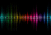 Disco rainbow colored music sound waves for equalizer or waveform design, vector illustration of musical pulse