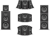 Music Speaker Twisted Isolated Realistic Icons Set Design Vector Illustration