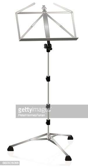 Music Stand Metal Style Isolated Vector Illustration On White