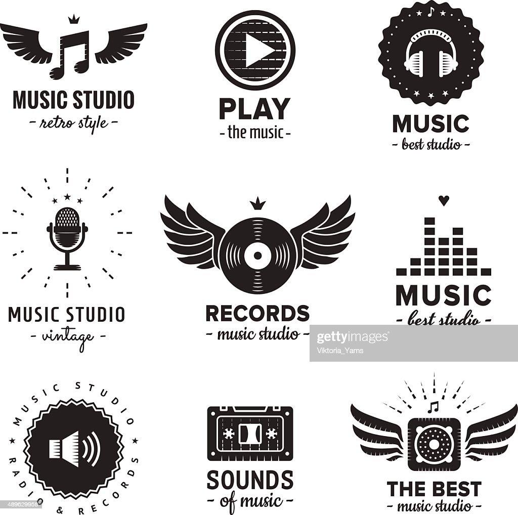 Music studio and radio logos vintage vector set.